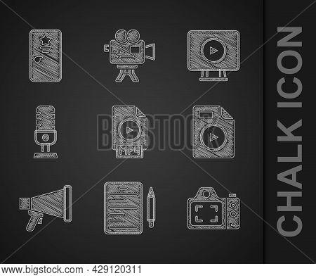 Set Mp4 File Document, Scenario, Photo Camera, Avi, Megaphone, Microphone, Online Play Video And Bac