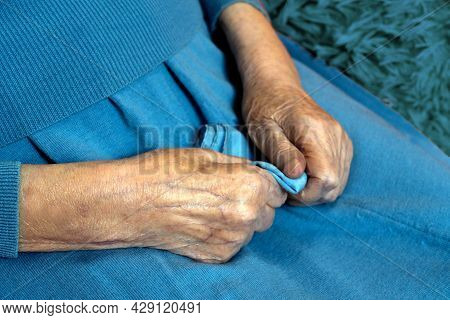 Hands Of A Very Old Woman With Wrinkled Skin. Longevity. Loneliness Of Old People
