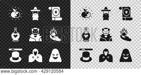 Set Poison Apple, Wizard Warlock, Magic Scroll, Hat And Wand, Mantle, Cloak, Cape, Ghost, Bottle Wit