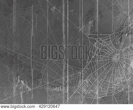 Shabby Grey Wall Of Wooden Planks Covered With Spooky Spider Web - Halloween Theme Haunted Attic Cop