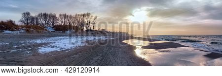 Panoramic View Of The Baltic Sea Coast On The Vistula Spit At The Winter Time