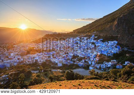 Aerial View Of Chefchaouen In Morocco. The City Is Noted For Its Buildings In Shades Of Blue And Tha