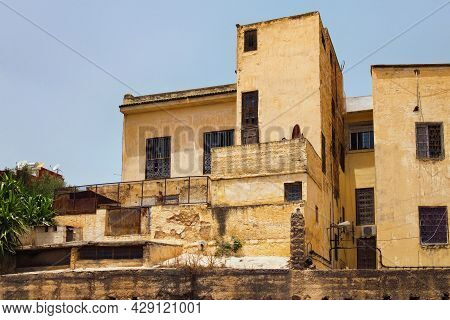 Old Shabby Residential Buildings On A Sunny Day In Fez. Morocco.