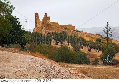 View On The Old Medieval Ruins Near Marinid Tombs Hill. It Hill Is The Popular View To The Fez El Ba