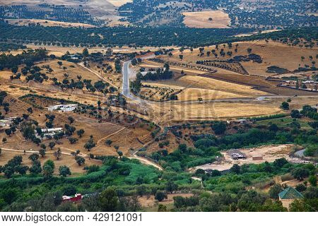 Aerial View Of The Fields Near The Fez, Morocco.