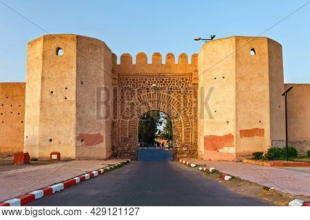 View Of The Yellow Historical Gate In The Medina Of Marrakesh On A Sunny Day. Morocco.