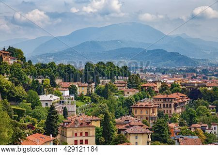 Aerial View Of The Old Town Bergamo In Northern Italy. Bergamo Is A City In The Alpine Lombardy Regi