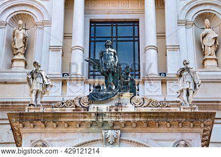 Bronze Sculpture Of Saint Alexander (patron Of The Bergamo City) On The Roman Catholic Bergamo Cathe