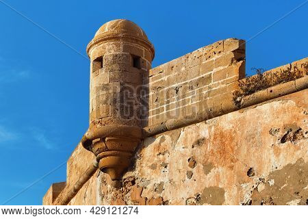 Details Of The Historical Walls Of The Essaouira Fortress In Morocco On A Summer Sunny Day.