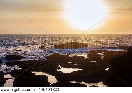 Sunset On The Atlantic Ocean In The Area Of Essaouira In Morocco On A Summer Evening.
