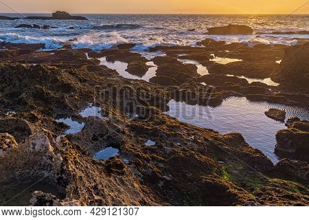 Picturesque Sunset On The Atlantic Ocean In The Area Of Essaouira In Morocco On A Summer Evening.