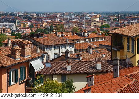 View Of The Redroof Historical Buildings In The Bergamo In Northern Italy. Bergamo Is A City In The
