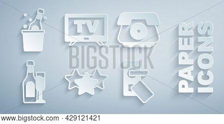 Set Stars Rating, Telephone Handset, Champagne Bottle With Glass, Digital Door Lock, Smart Tv And Bo