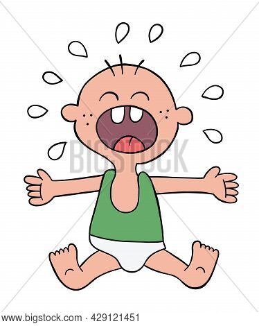 Cartoon Baby Is Crying, Vector Illustration. Colored And Black Outlines.