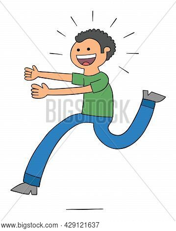 Cartoon Excited Man Comes Running, Vector Illustration. Colored And Black Outlines.