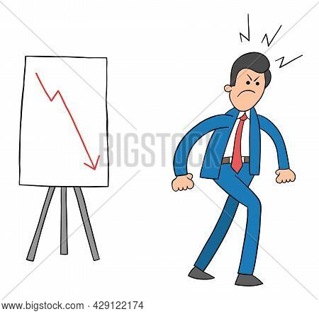 Cartoon Sales Graph Goes Down And The Businessman Leaves Very Angry, Vector Illustration. Colored An