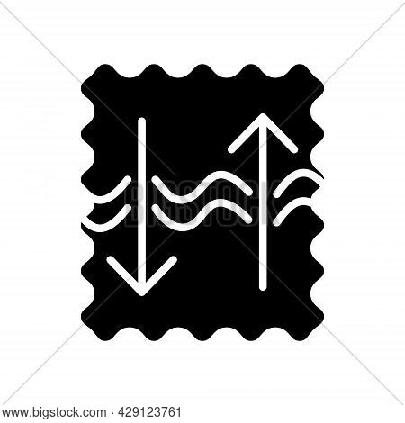Breathable And Strength Textile Glyph Icon. Fabric Feature. Textile Industry. Black Symbol. Isolated