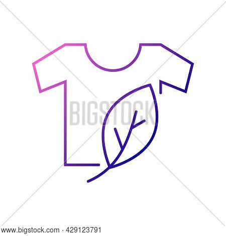 Organic Material Label Outline Icon. Shirt With Leaf. Fabric Feature. Textile Industry. Gradient Sym