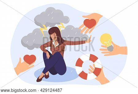People Offer Helping Hand To Depressed Woman Sit On Puddle Of Tears, Who Refused From Outsiders Supp