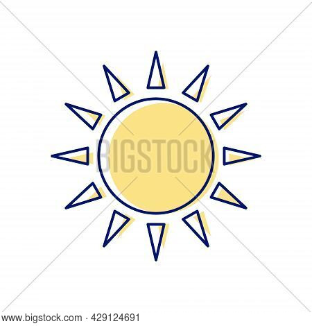 Taiwanese Flag Symbol Flat Icon. Taiwan. Oriental Sun. Asian Item. Color Filled Symbol. Isolated Vec