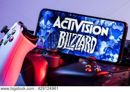 Kazan, Russia - August 7, 2021:  Activision Blizzard, Inc. Is An American Video Game Holding Company
