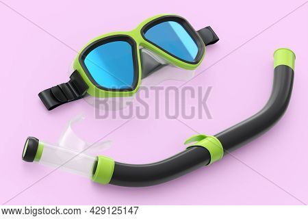 Green Diving Mask And Snorkel Isolated On A Pink Background. 3d Render Of Diving And Snorkeling Equi