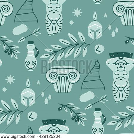 Seamless Pattern With Classic Antique Marble Statue Of Man, Column, Olive Branch And Vase. Mythical,