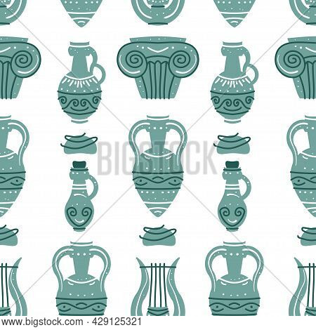 Seamless Pattern With Ancient Greek Vases And Ancient Columns. Background With Traditional Grecian C