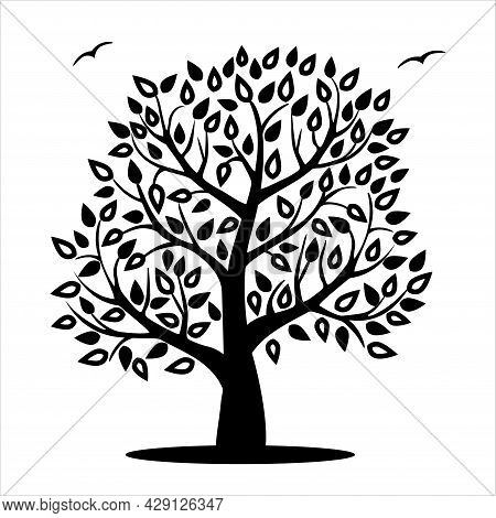 Black Tree Isolated On White Background. Tree Silhouette In Foliage . Autumn, Summer Or Spring, Flat