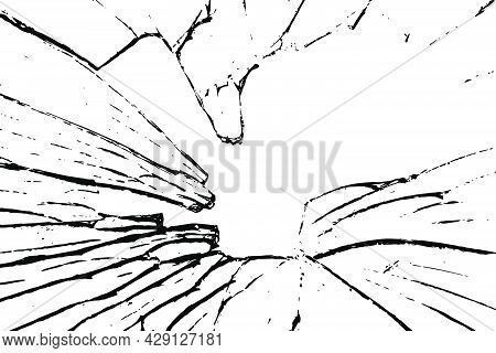 Grunge Vector Texture. Abstract Cracked Glass Background. Aged And Weathered Broken Surface. Dirty A