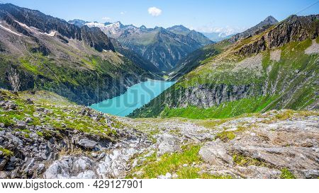 Beautiful Alpine Walley With Azure Blue Water Of Specher Zillergrundl Dam, Zillertal Alps, Austria