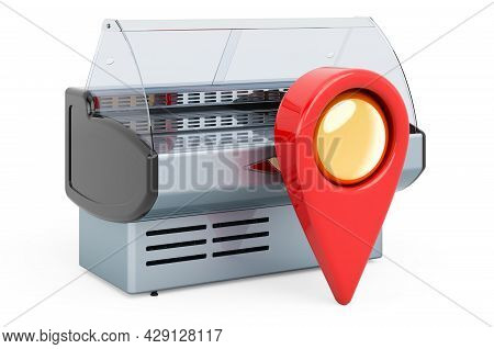 Map Pointer With Display Case, Showcase. 3d Rendering Isolated On White Background