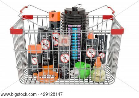 Shopping Basket With Insect Repellent Products And Lamp Mosquito Electric Insect Killer. 3d Renderin