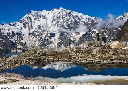 Beautiful View Of Monte Rosa With Snow And Lago Smeraldo In The Summer Season In Valle Anzasca, Pied