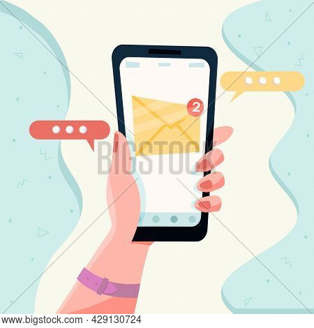 New Message On The Smartphone Screen. Email Notification Concept. Unread Email Notification. Vector