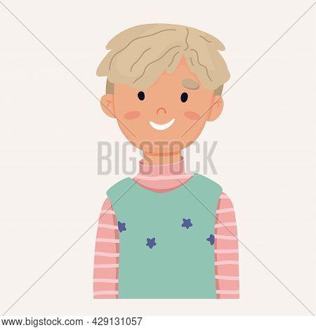 Portrait Of A Schoolboy Boy In A Vest. Vector Illustration
