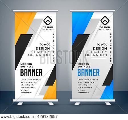 Roll Up Banner Stand Design Vector Illustration Set