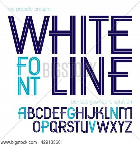 Set Of Vector Upper Case English Alphabet Letters Created With White Stripes, For Use In Logo Design