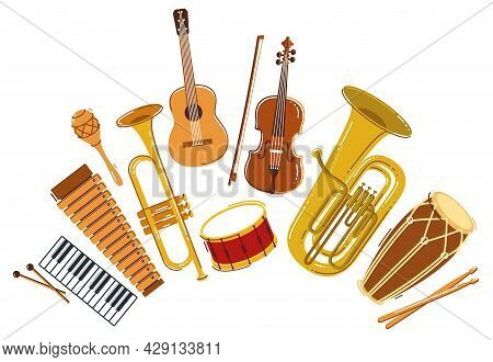 Classical Music Instruments Composition Vector Flat Style Illustration Isolated On White, Classic Or