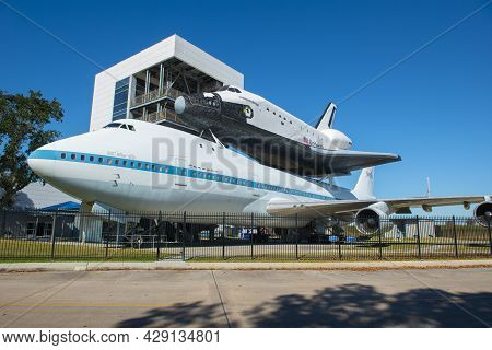 Houston, Tx, Usa - Dec. 14, 2018: Space Shuttle Mounted On Boeing 747 Shuttle Carrier Aircraft On In