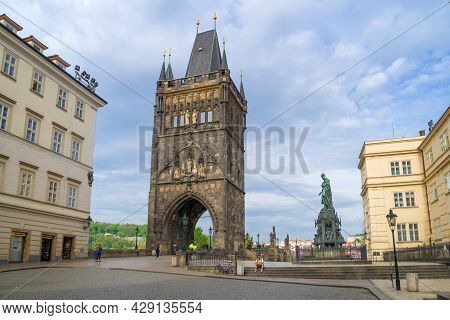 Prague, Czech Republic - April 23, 2018: View Of The Old Town Tower Of Charles Bridge In April Morni