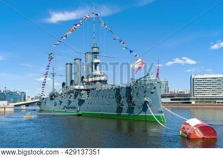 Saint Petersburg, Russia - May 24, 2020: Old Cruiser