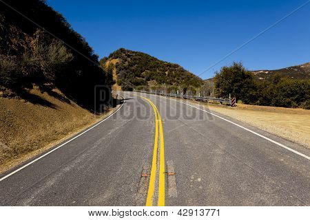 Mountain Road Turning Left Uphill
