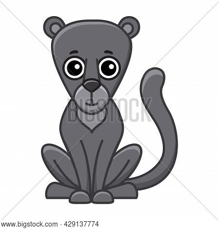 Coloring Animal For Children Coloring Book. Funny Puma In A Cartoon Style. Trace The Dots And Color