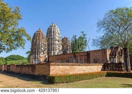 View Of The Ruins On The Ancient Buddhist Temple Wat Sri Sawai In The Historical Park Of The Sukhoth