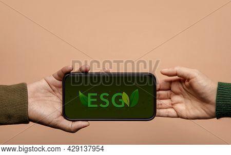 Esg, Ecology Care Concept. Environmental, Social And Corporate Governance. Green Energy, Renewable A