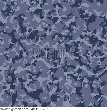 Military Blue Camouflage, War Texture Repeats, Seamless Background. Camo Pattern For Army Clothing.
