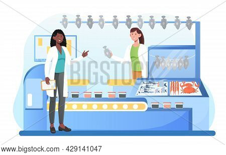 Production Line Of Canned Fish And Preserves. Chain Of Specialized Stores, Family Business. Street V