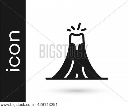 Black Volcano Eruption With Lava Icon Isolated On White Background. Vector