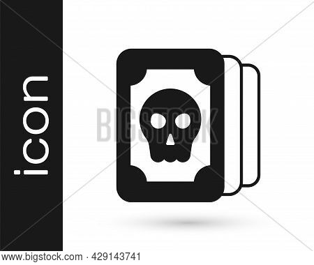 Black Tarot Cards Icon Isolated On White Background. Magic Occult Set Of Tarot Cards. Vector